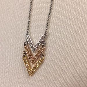 Swarovski Crystal tri color chevron necklace
